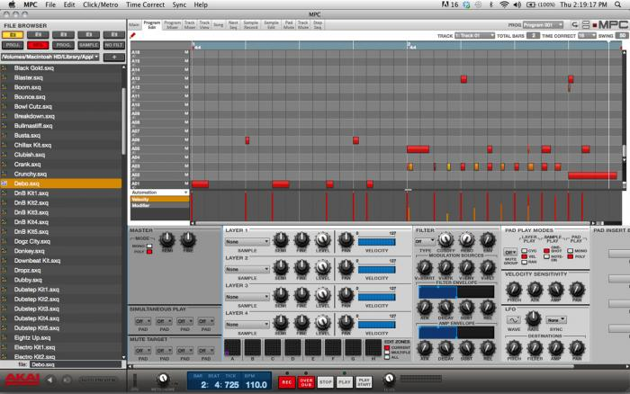 MPC Software - Program Edit Screen