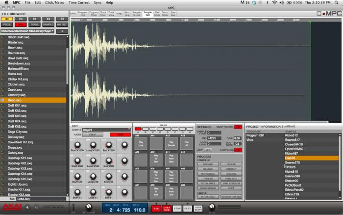 MPC Software - Sample Edit Screen