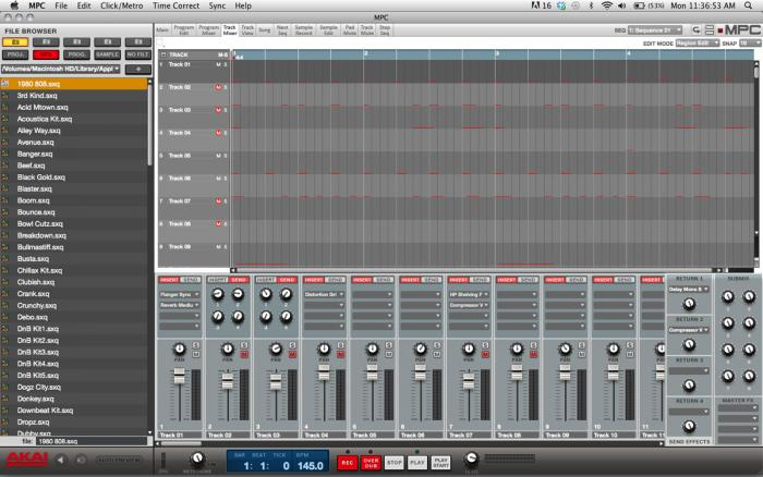 MPC Software - Track Mixer Screen
